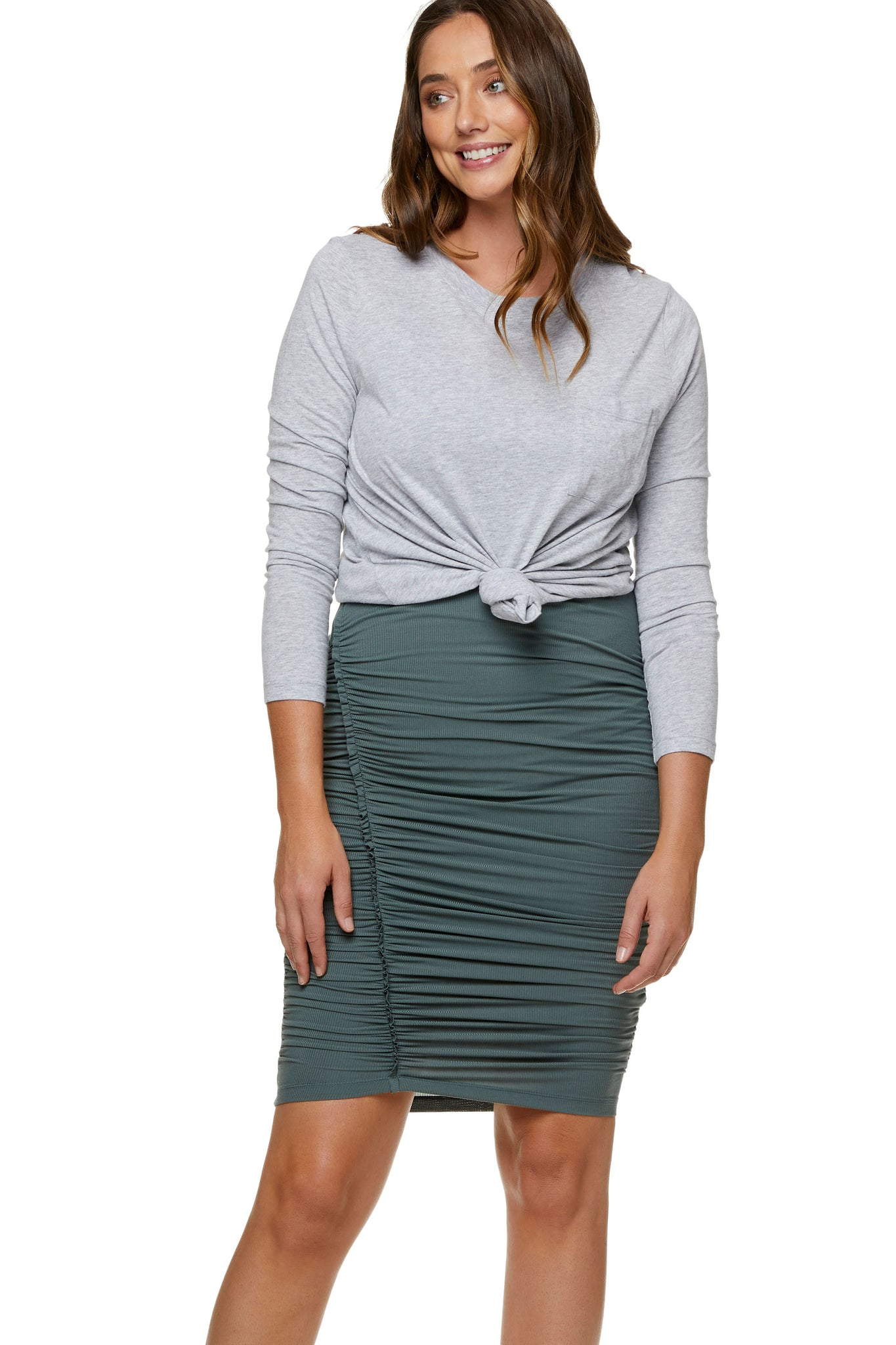 Maternity bodycon mini skirt - Khaki 5