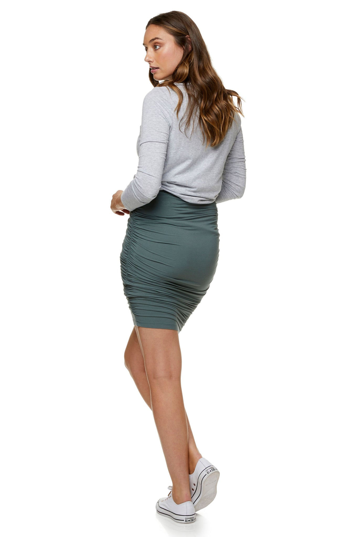 Maternity bodycon mini skirt - Khaki 7