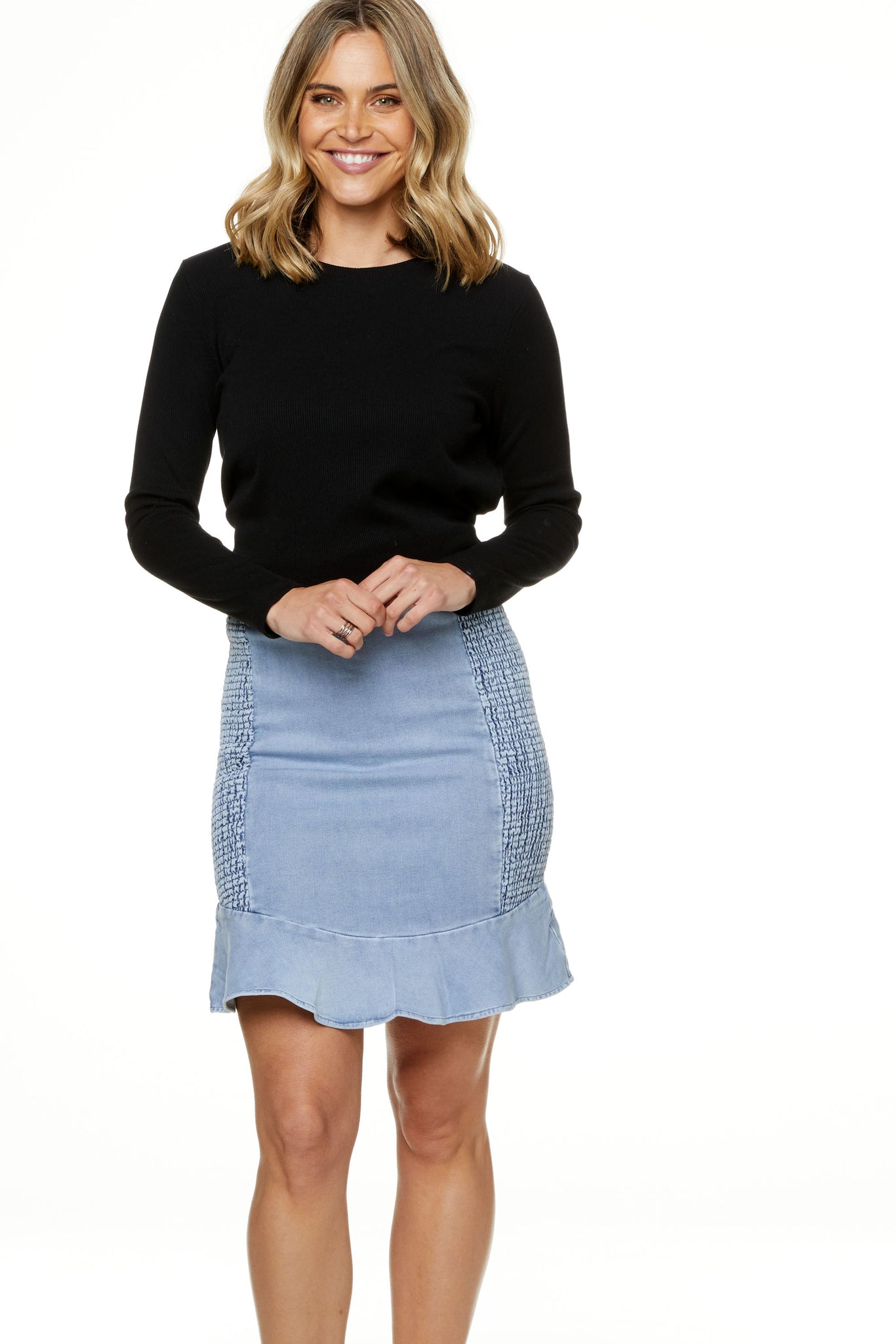 Forever Ruffle Denim Skirt