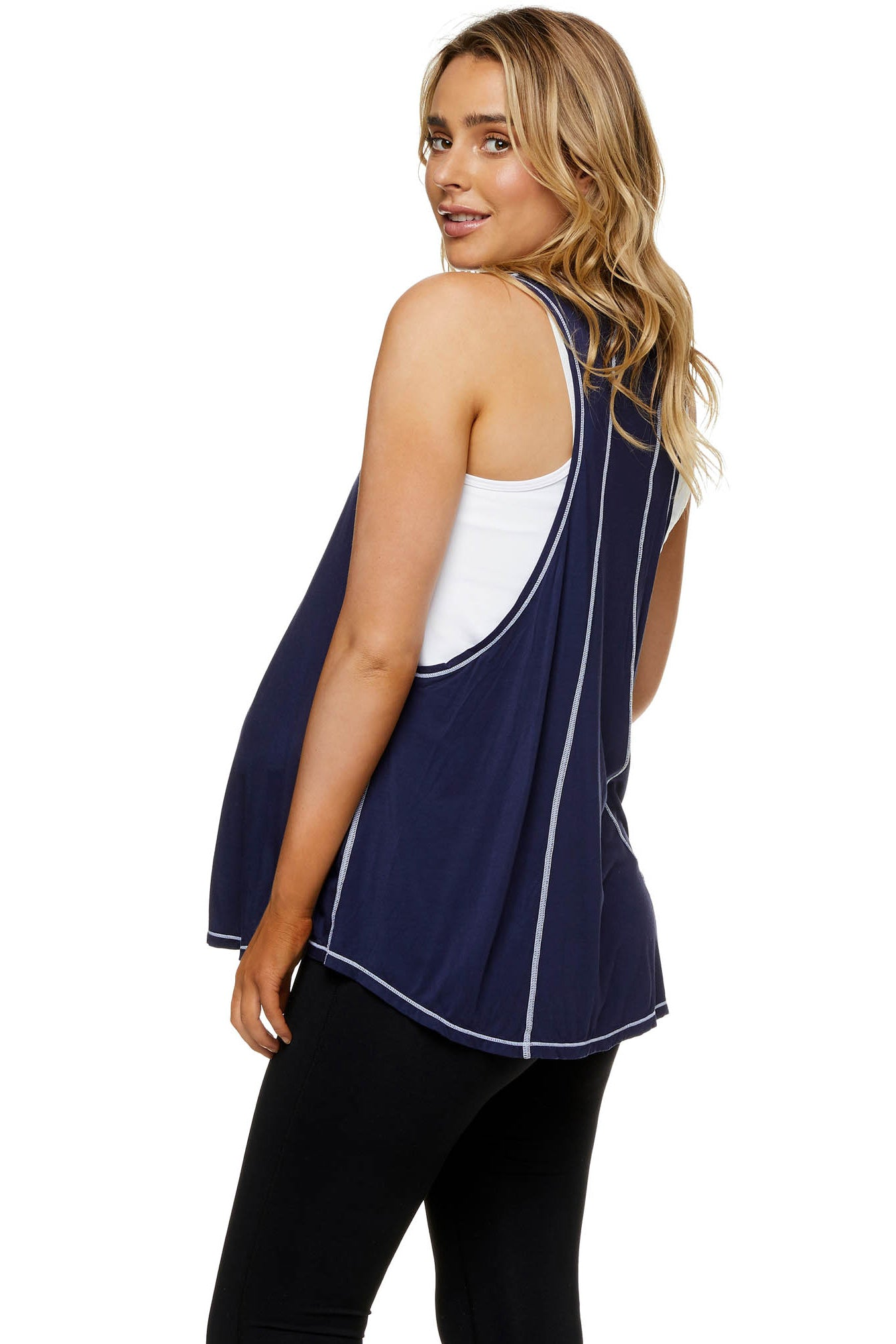 Maternity and Nursing Active Tank Navy Image 3