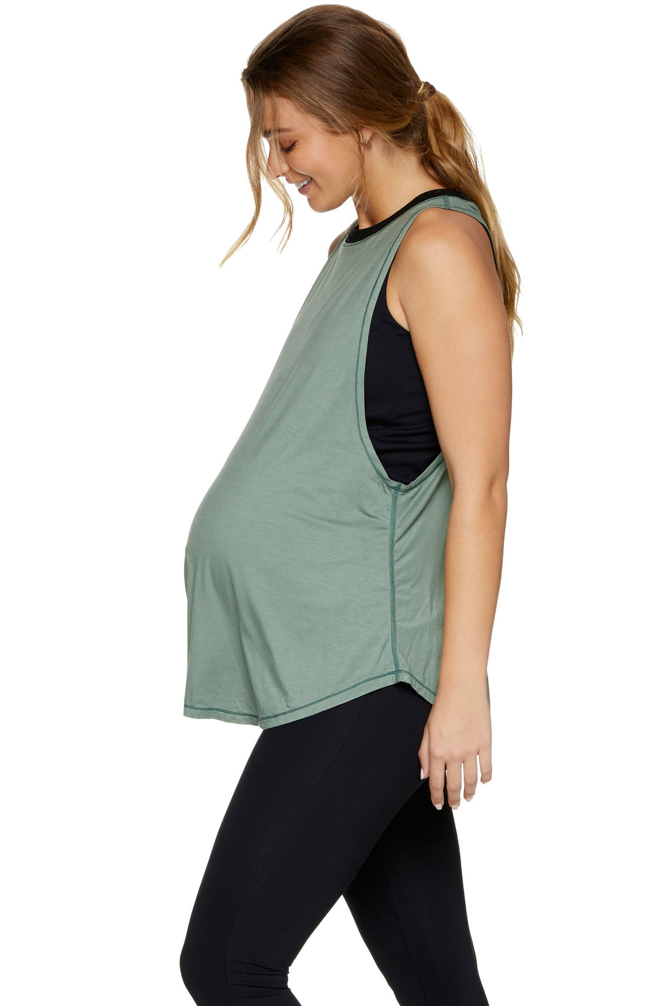 Maternity and Nursing Active Tank Khaki Image 2