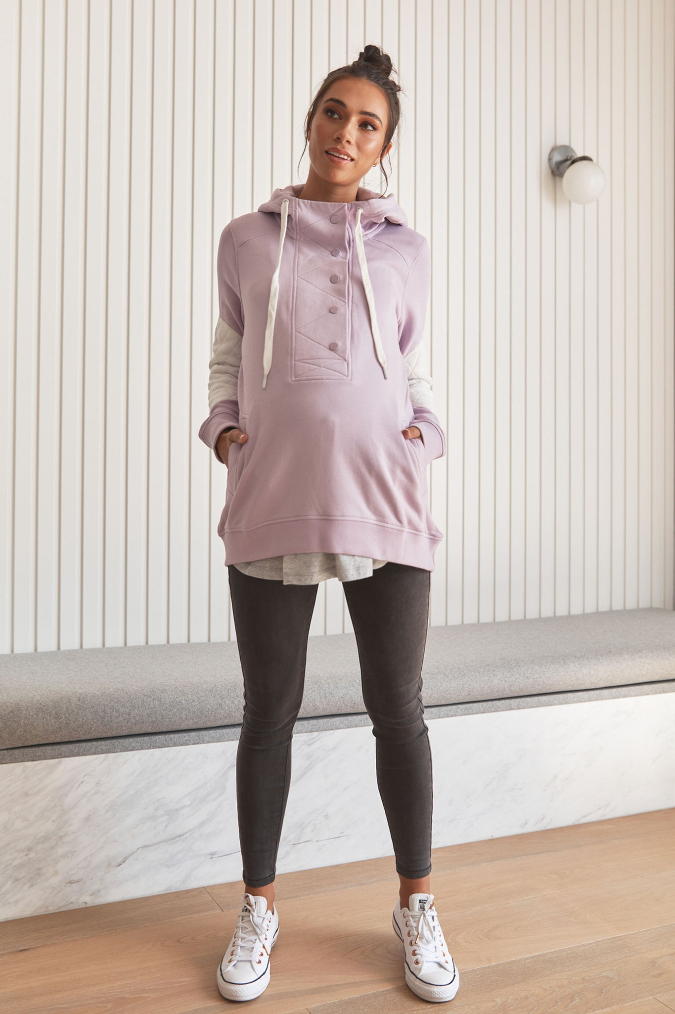 Maternity and Nursing Hoodie Lilac C