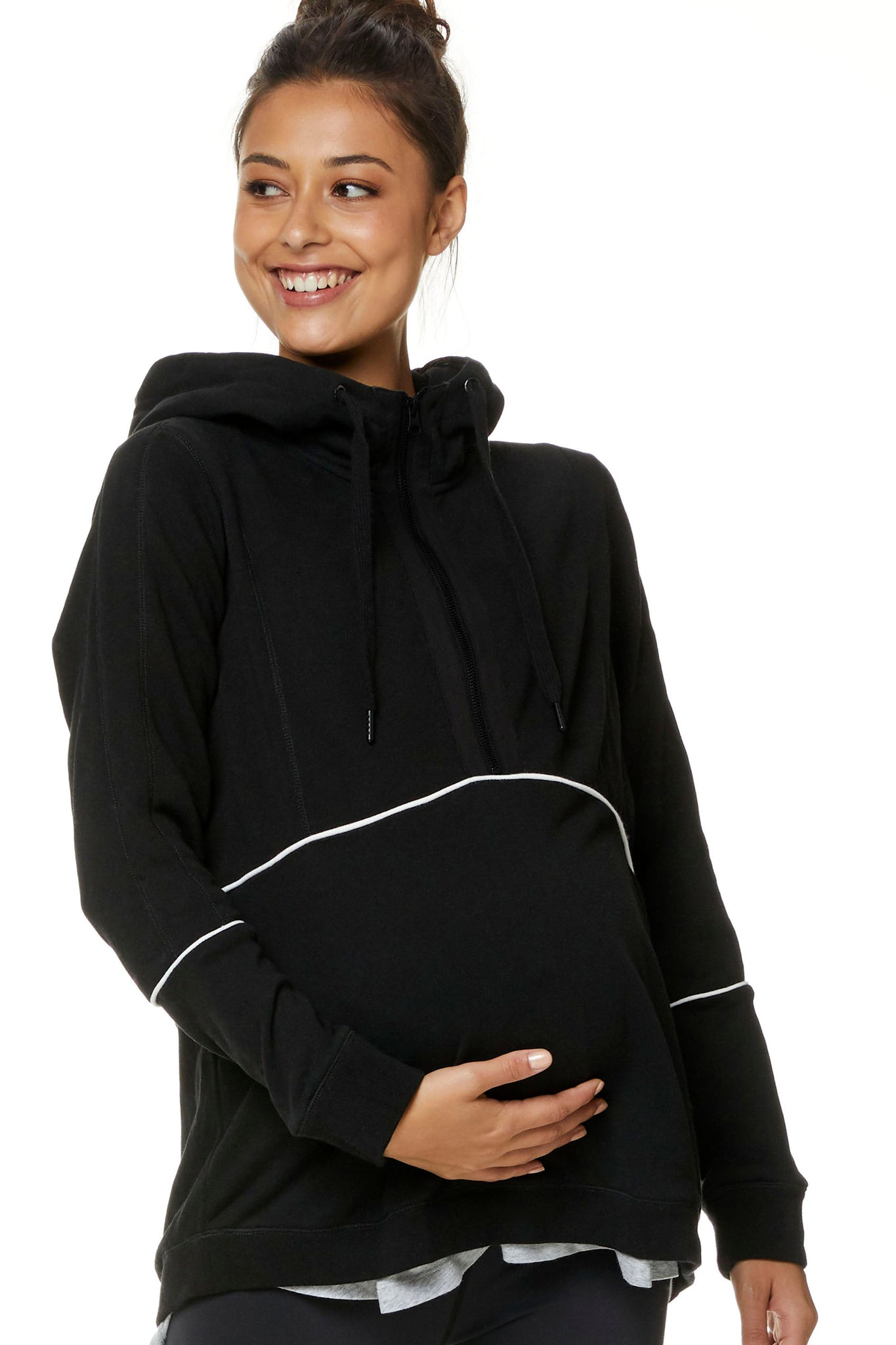 Maternity and Nursing Hoodie with Zip 1
