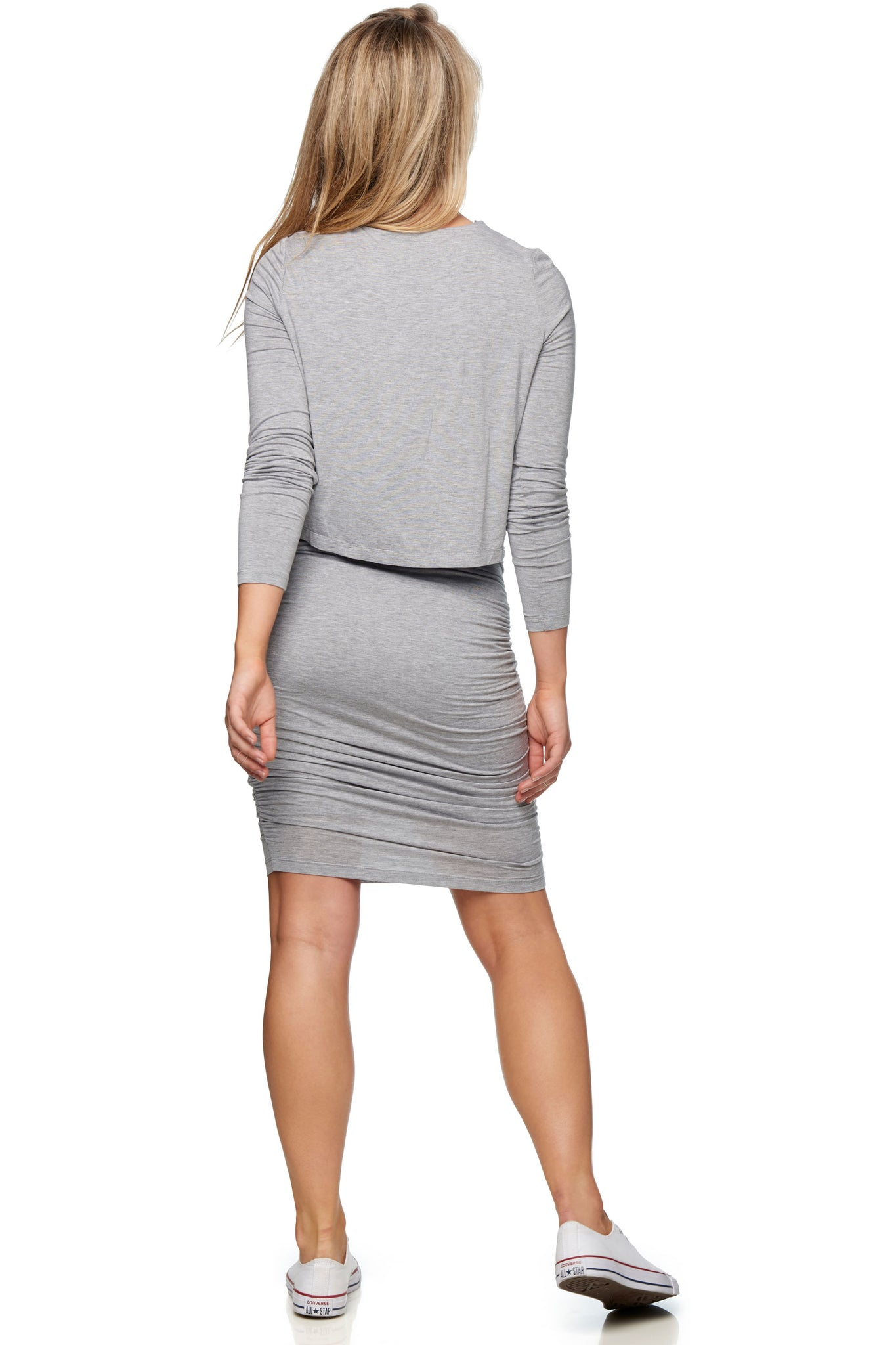 Long sleeve maternity and nursing dress - Grey 3