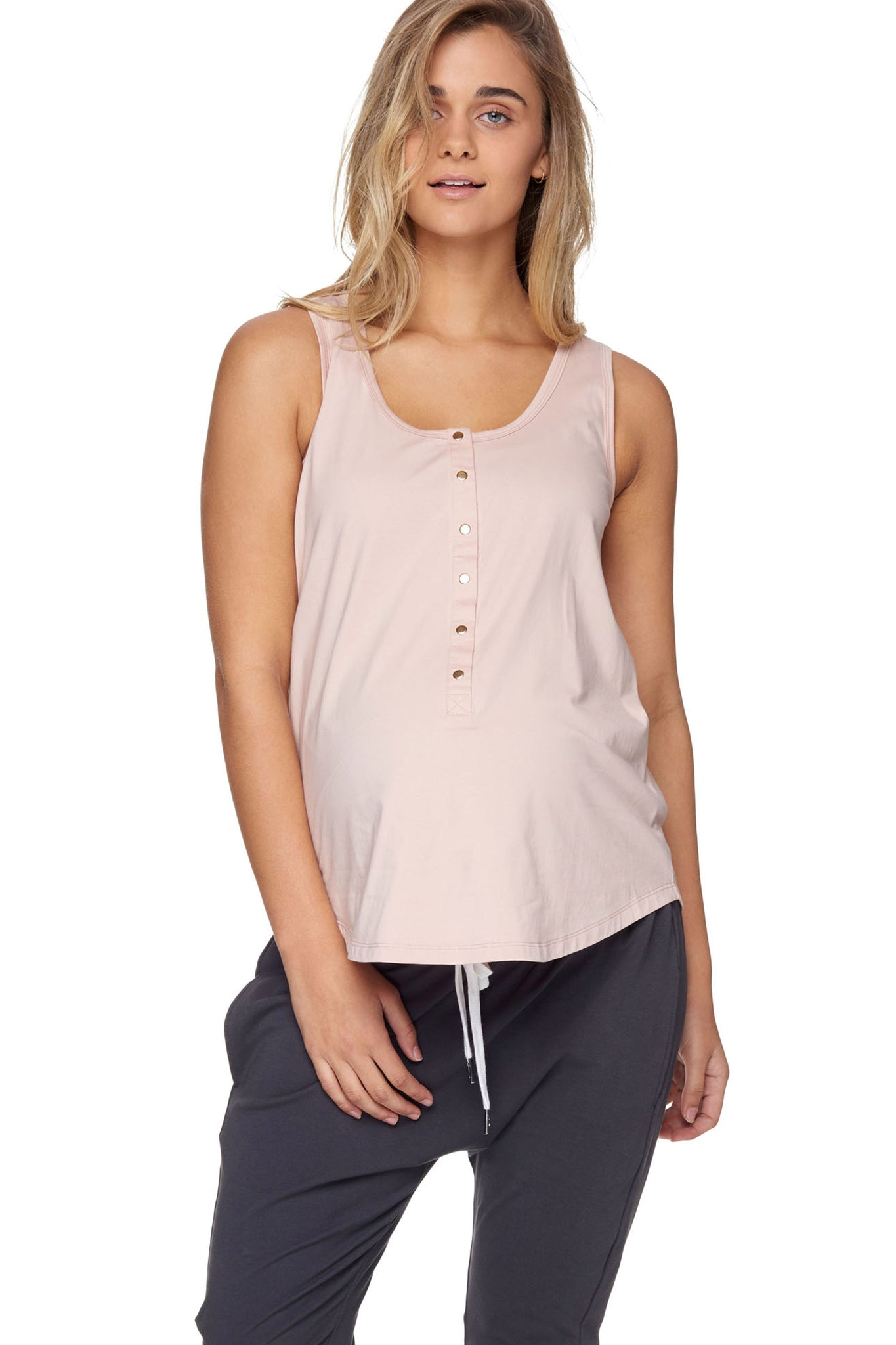Maternity + Nursing Tank Top - Pink 1