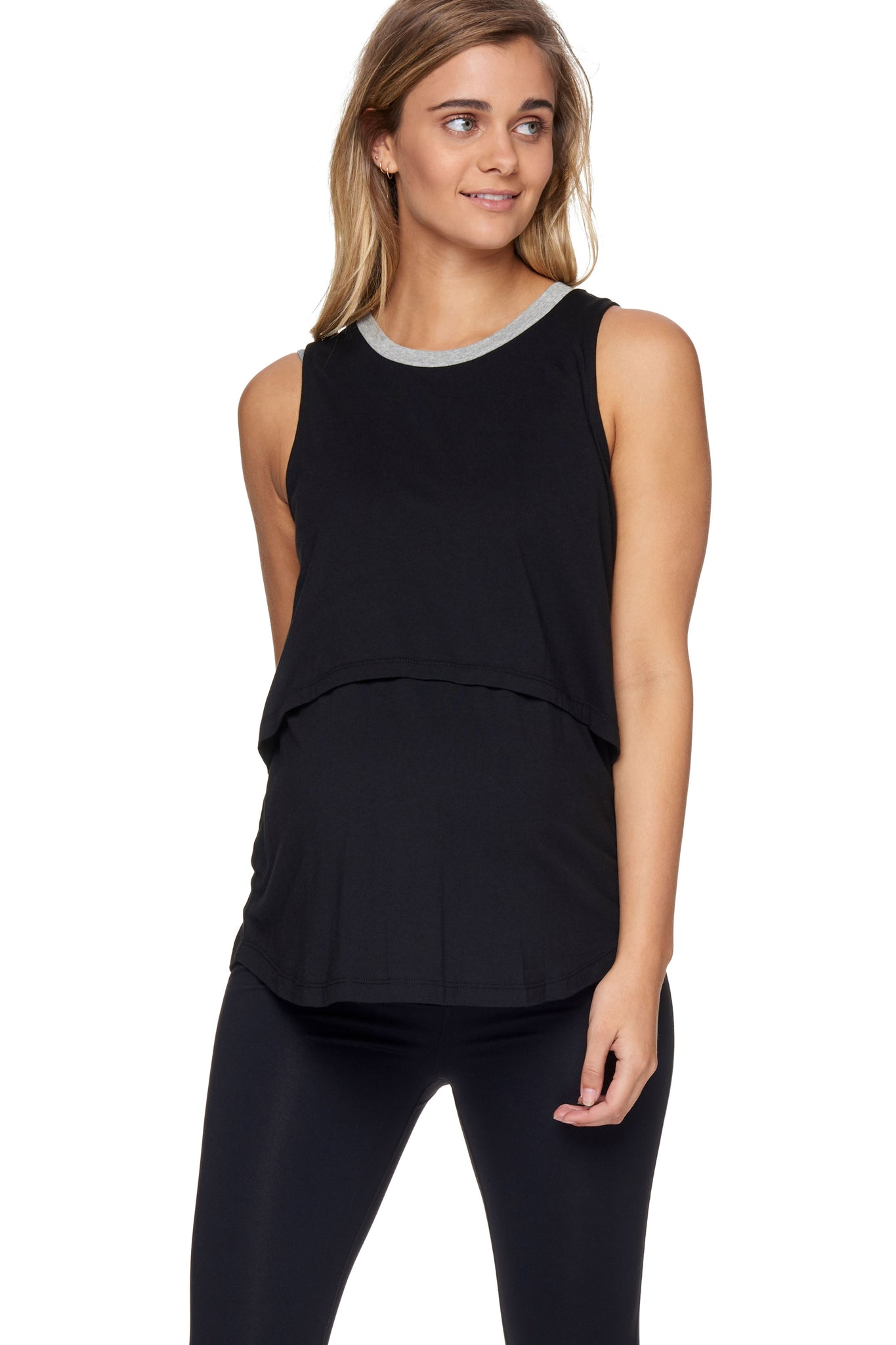 Maternity & Nursing Tank Top - Black 1