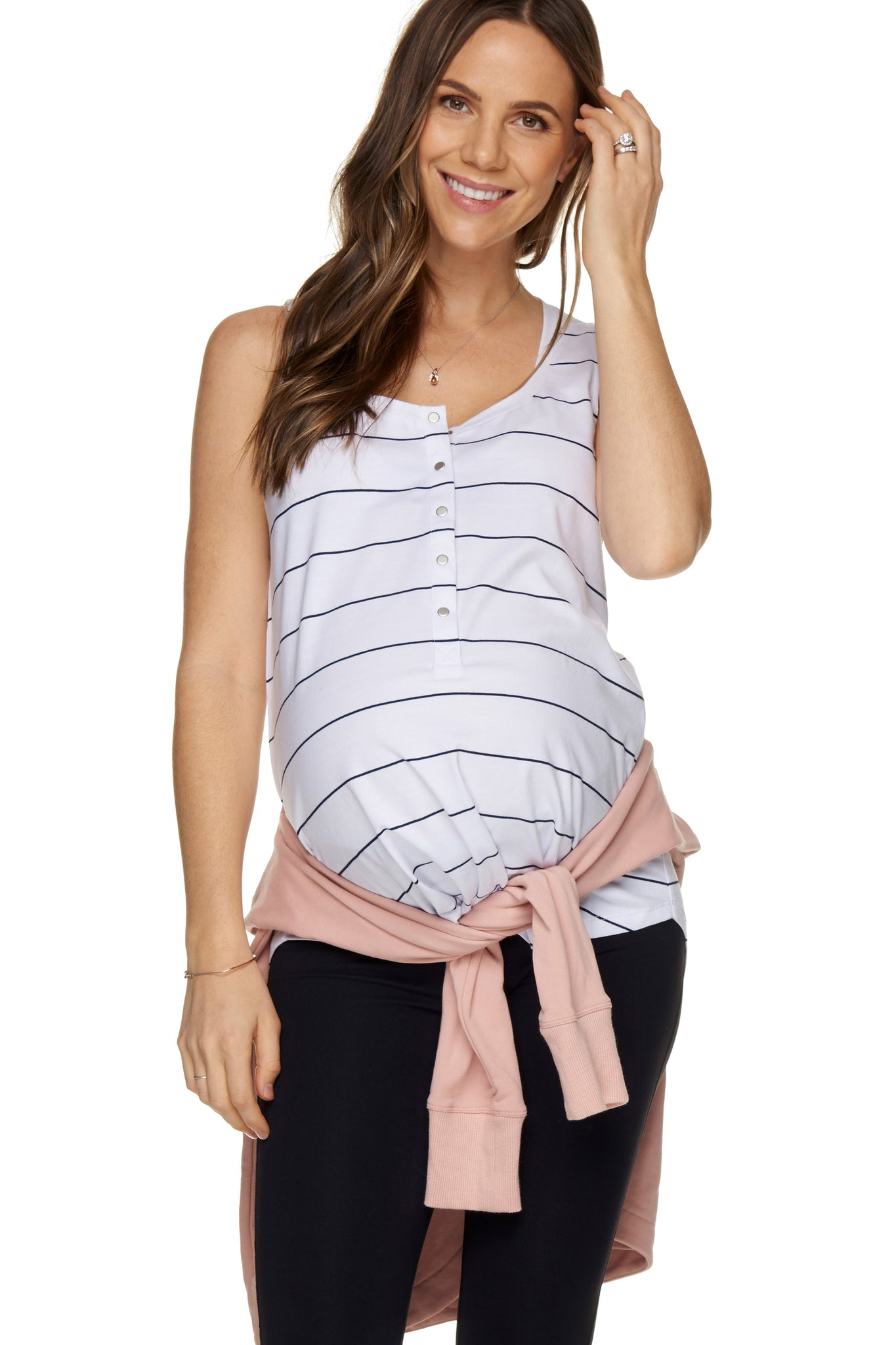 Maternity + Nursing Tank Top - White Stripe 1