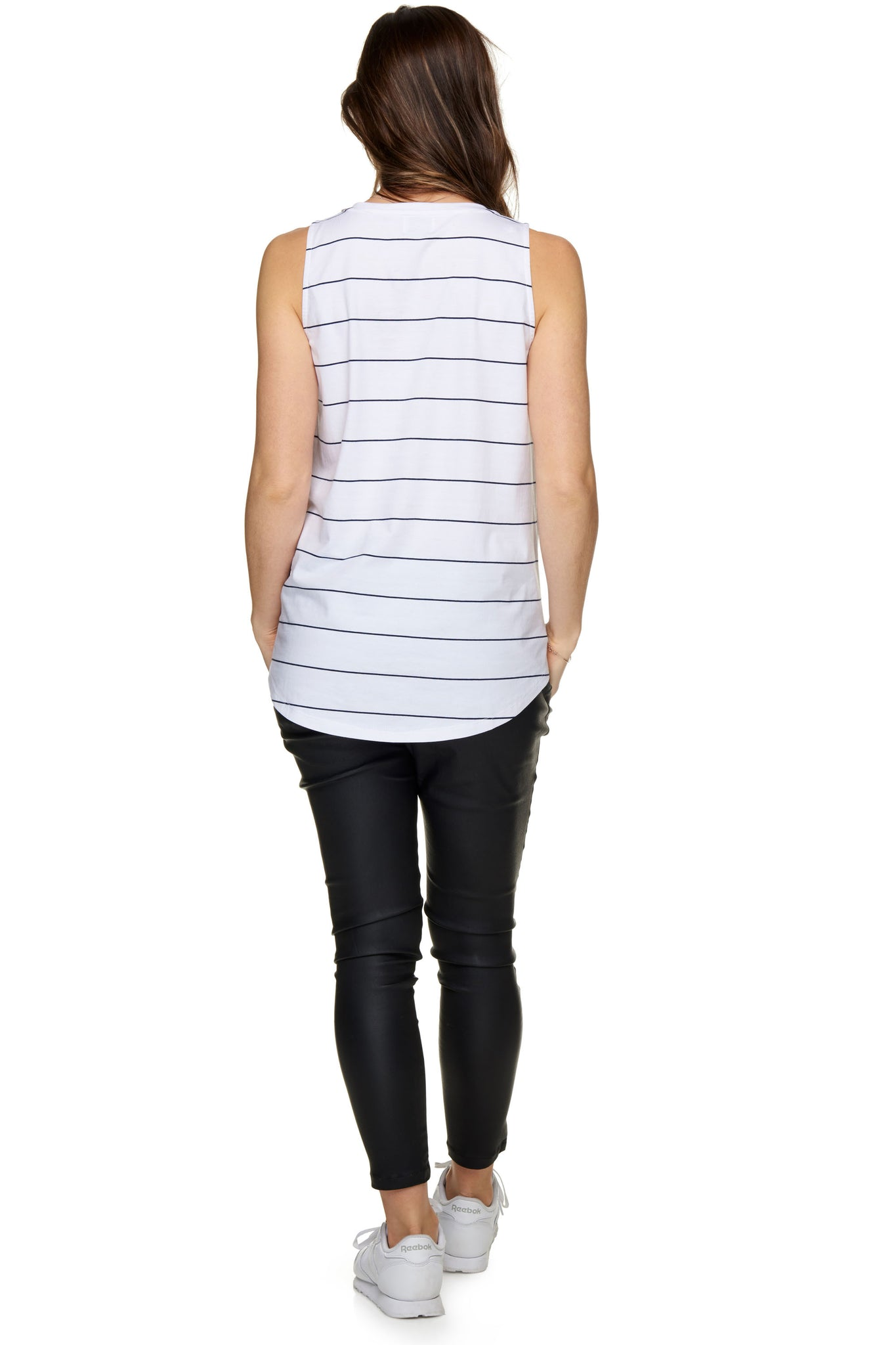 Maternity + Nursing Tank Top - White Stripe 3