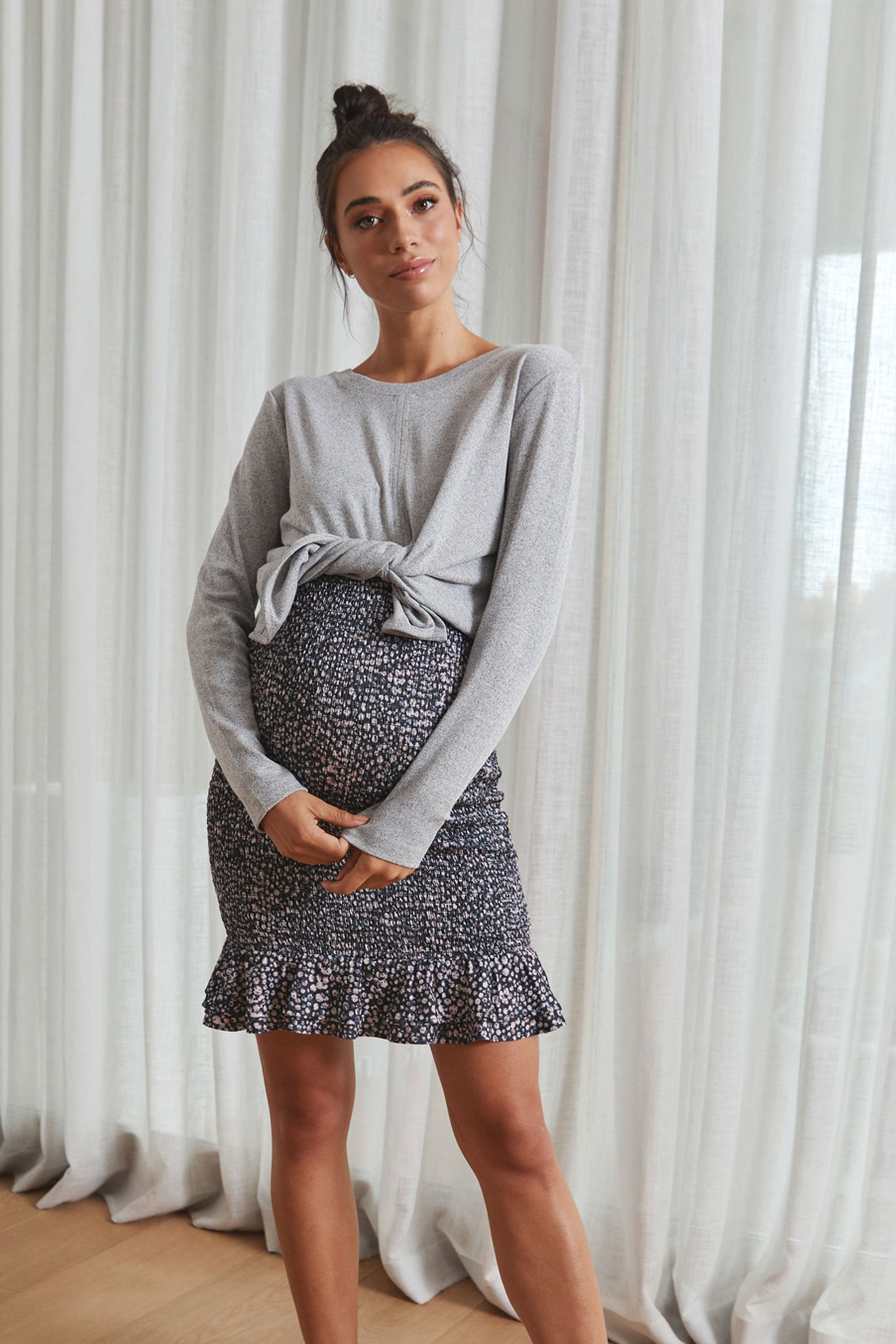 Grey Maternity Tie Up Top 5
