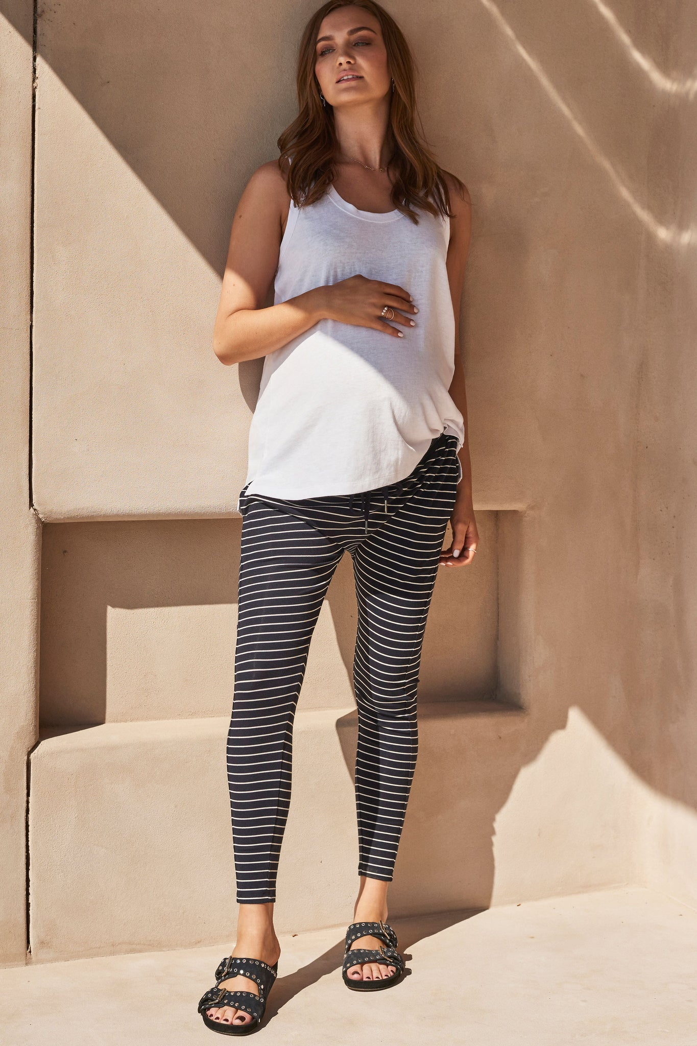 Navy Stripe Maternity Track Pants 6