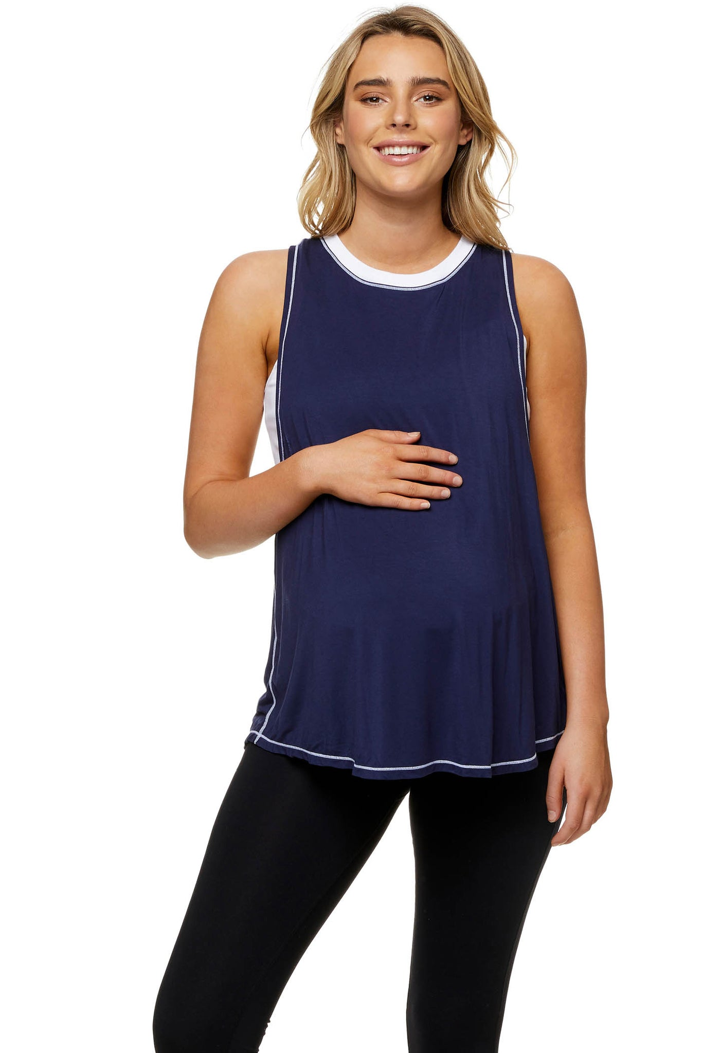 Maternity and Nursing Active Tank Navy Image 2