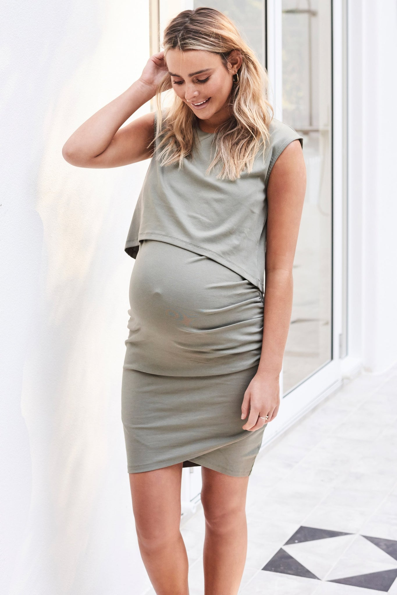 Maternity & Nursing Dress for pregnancy - Khaki 10