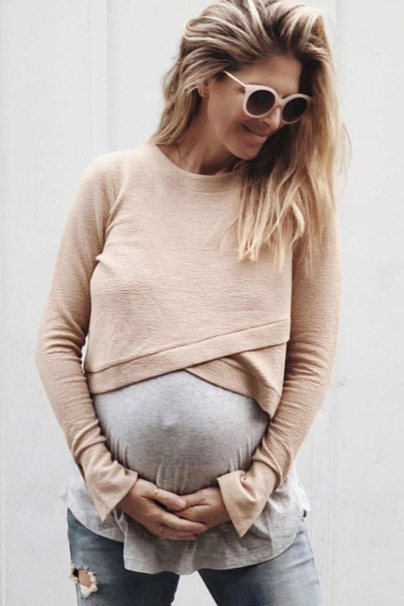 Maternity Crop Jumper in Nude Image 6