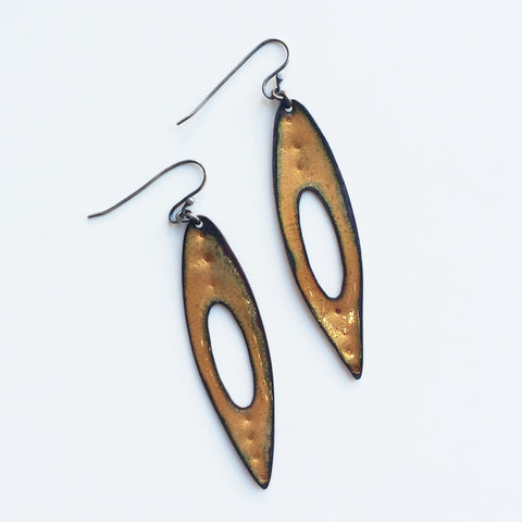 Golden Enamel Earrings - Gather Goods Co - Raleigh, NC