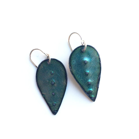 Green Patina Teardrop Metal Earrings - Gather Goods Co - Raleigh, NC