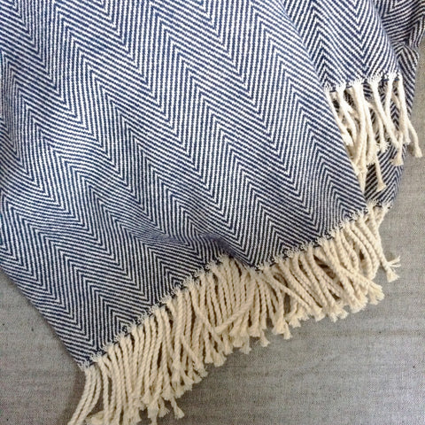Herringbone Cotton Throw Blanket, Blue - Gather Goods Co - Raleigh, NC