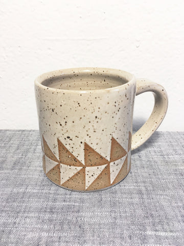 Geometric White Speckled Triangles Mug