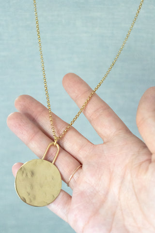 Brass Circle Pendant Necklace - Gather Goods Co - Raleigh, NC