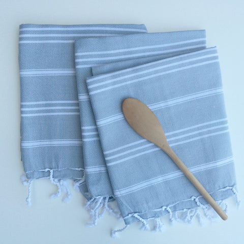 Tea Towel, Gray & White Stripe, Turkish - Gather Goods Co - Raleigh, NC