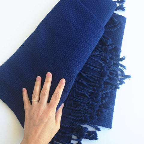 Navy Turkish Cotton Throw - Gather Goods Co - Raleigh, NC