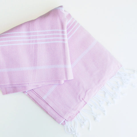 Pink & White Stripe Turkish Blanket - Gather Goods Co - Raleigh, NC