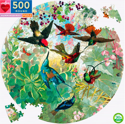 Round Hummingbird, 500 Piece Puzzle - Gather Goods Co - Raleigh, NC