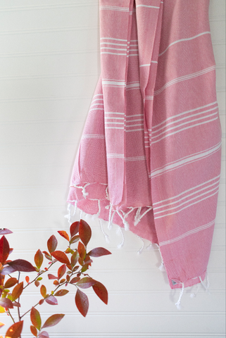 Pink & White Striped Turkish Throw