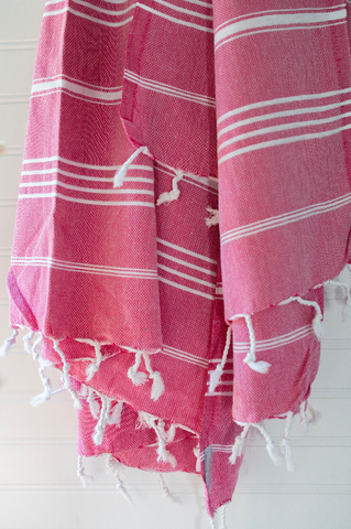 Fuschia Pink & White Striped Turkish Tablecloth