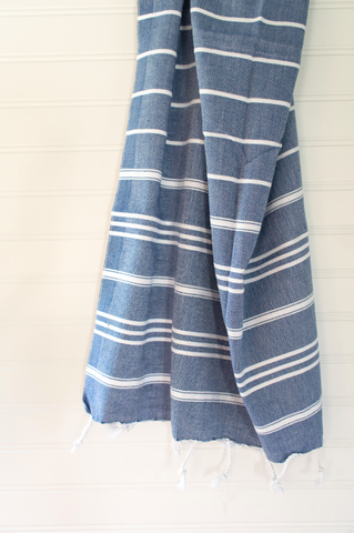 Navy Blue Striped Turkish Hand Towel