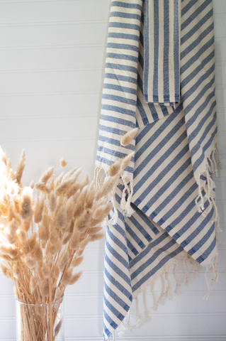 Navy Blue Striped Turkish Towel - Gather Goods Co - Raleigh, NC
