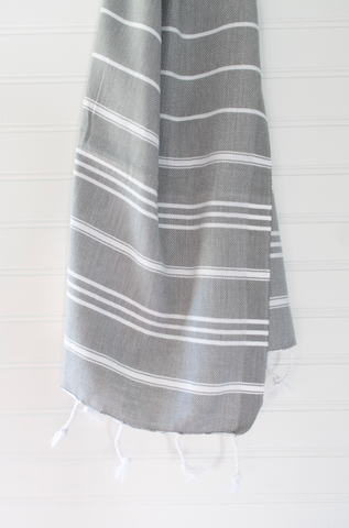Gray Striped Turkish Hand Towel