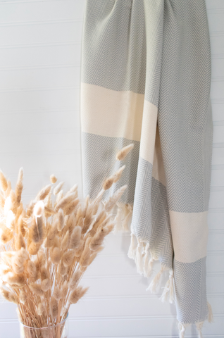 Light Gray Herringbone Pattern Turkish Towel - Gather Goods Co - Raleigh, NC