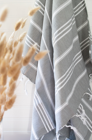 Light Gray Striped Turkish Towel - Gather Goods Co - Raleigh, NC