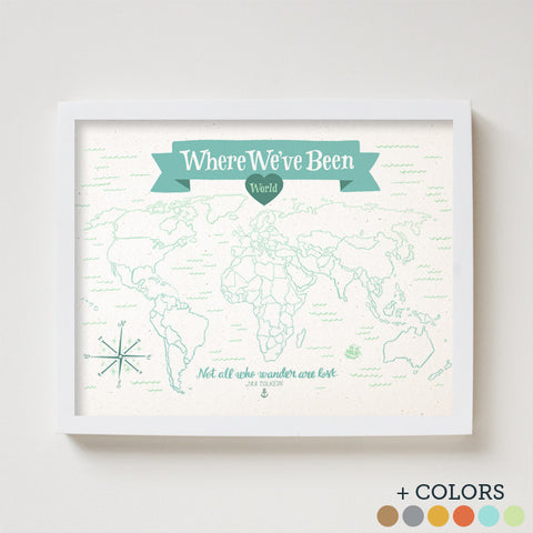 Where We've Been: World Map - Gather Goods Co - Raleigh, NC