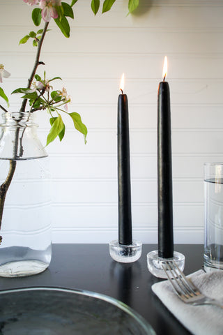 "10"" Black Taper Candle, Set of 2, Unscented - Gather Goods Co - Raleigh, NC"