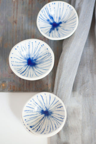 Cobalt Blue Stripes Pinch Bowl