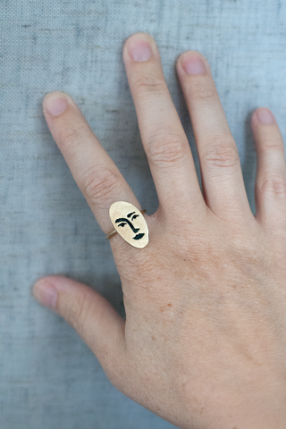 Brass Face Ring