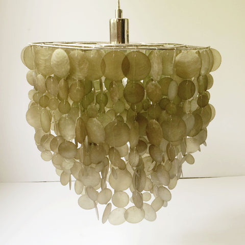 Capiz Shell Pendant Lamp, West Elm, Vintage - Gather Goods Co - Raleigh, NC