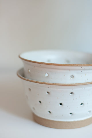 White Ceramic Berry Colander - Gather Goods Co - Raleigh, NC
