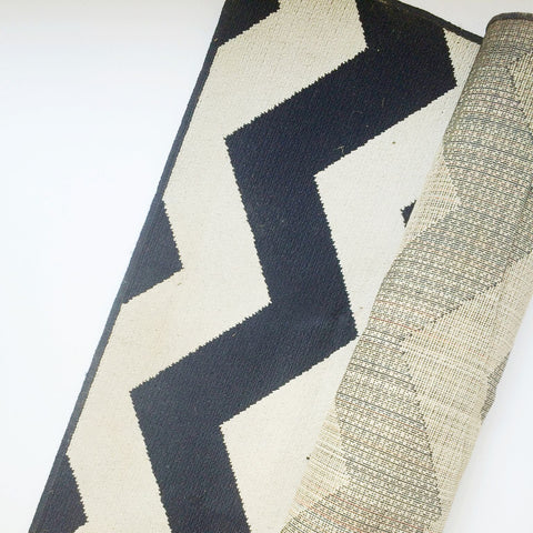 Navy and White Chevron Outdoor Rug