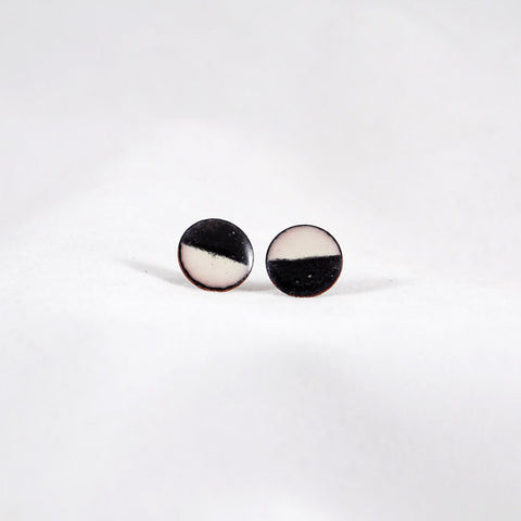 Black & Cream Circle Stud Earrings