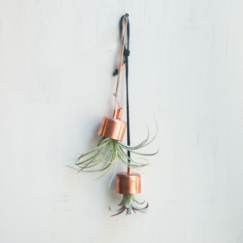 Hanging Planter Copper Chime with Airplant - Gather Goods Co - Raleigh, NC