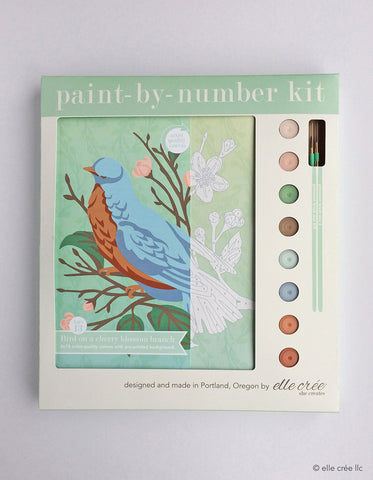 Paint By Number Kit, Bird on a Cherry Blossom Branch - Gather Goods Co - Raleigh, NC