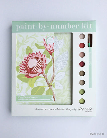 Paint By Number Kit, King Protea Blooms - Gather Goods Co - Raleigh, NC