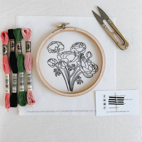 Embroidery Kit, Peony Flower - Gather Goods Co - Raleigh, NC