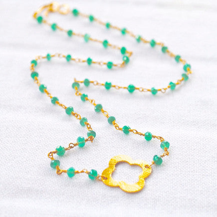 Green Emerald Quatrefoil Chain Necklace - Gather Goods Co - Raleigh, NC