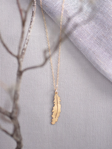 Gold Feather Necklace - Gather Goods Co - Raleigh, NC