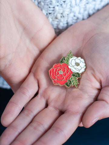 Lovely Flowers Enamel Pin - Gather Goods Co - Raleigh, NC