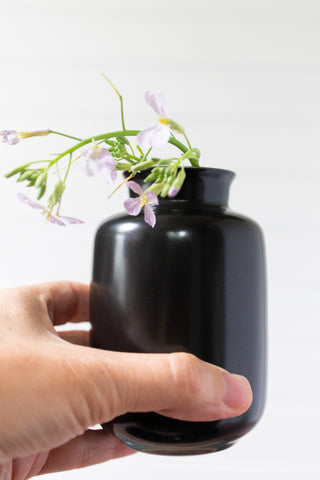 Black Porcelain Bud Vase, Bottle Shape