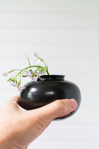 Black Porcelain Bud Vase, Rounded Shape